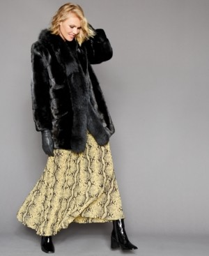 The Fur Vault Mink-Fur Fox-Trim Coat