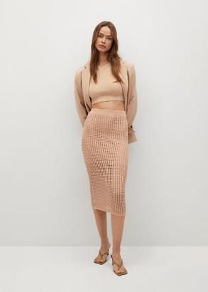 MANGO Crochet midi skirt