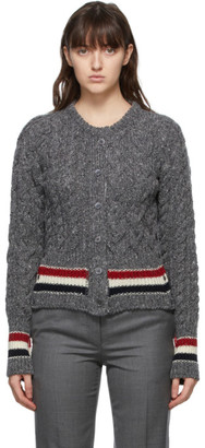 Thom Browne Online Exclusive Grey Mohair Aran Cable RWB Stripe Cardigan