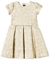 Oscar de la Renta Gold Jacquard Dress with Bow Back