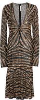 Naeem Khan Sequined Midi Dress
