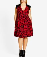 City Chic Plus Size Floral-Print Fit & Flare Dress