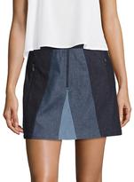 BCBGMAXAZRIA Colorblocked Denim Mini Skirt