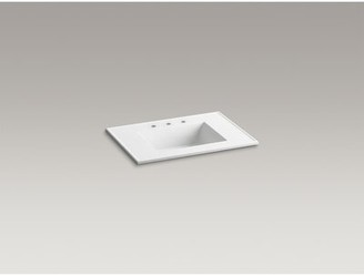 """Kohler Ceramic Impressions 31 In. Rectangular Vanity-Top Bathroom Sink with Faucet Holes Top Finish: White Impressions, Faucet Mount: 8"""" Widespread"""