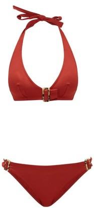 Eres Halterneck Tortoiseshell Buckle Bikini - Red