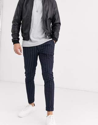 Burton Menswear skinny smart trousers in navy pinstripe-Black