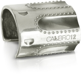 Forzieri Calibro12 Revolver Sterling Silver Studded Cuff Bracelet w/Natural Ruby