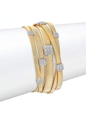 Marco Bicego Women's Masai Diamond, 18K Yellow Gold & 18K White Gold Multi-Row Bracelet