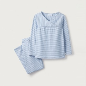 The White Company Stripe V-Neck Pyjamas (1-12yrs), White Blue, 7-8yrs