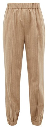 Hillier Bartley Pinstriped High-rise Wool-blend Trousers - Beige Multi
