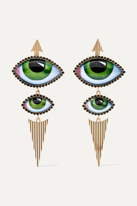 Lito Tu Es Partout 14-karat Gold, Enamel And Diamond Earrings