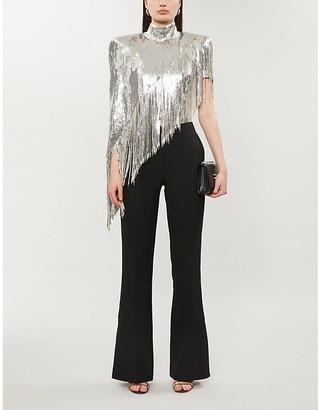 Balmain Sequin-embellished high-neck silk-stretch top