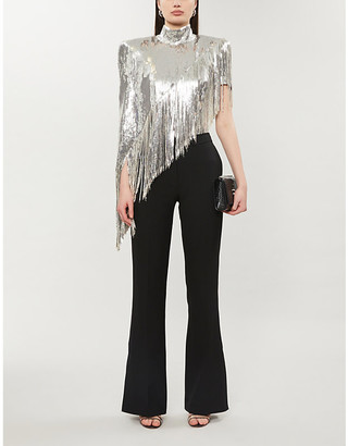 Balmain Sequin-embellished high-neck silk-stretch top