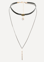 Bebe Bar & Crystal Double Choker