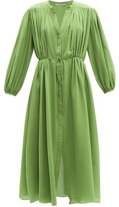 Three Graces London Julienne Silk Shirtdress - Womens - Green