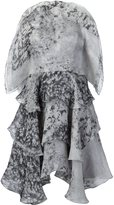 Christian Siriano marbled ruffled dress