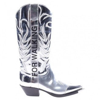 Off-White Metallic Leather Boots
