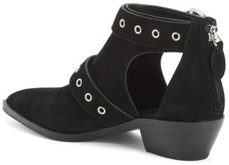 Suede Booties With Buckle And Cutout Details