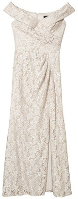 Alex Evenings Long Off-the-Shoulder Fit-and-Flare Lace Dress (Taupe) Women's Dress