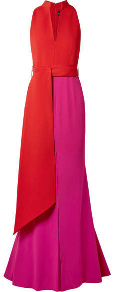 Brandon Maxwell Color-block Crepe Gown - Red