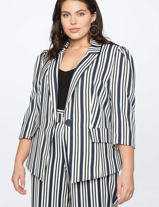 Stripe One-Button Blazer
