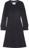 Prada Lace-trimmed Crepe Dress - Midnight blue