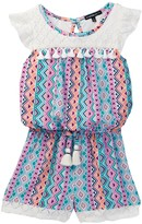 My Michelle mymichelle Printed Crochet & Tassel Yoke Romper (Big Girls)
