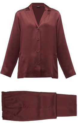 La Perla Silk-charmeuse Pyjamas - Womens - Burgundy