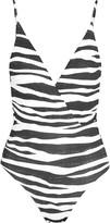 Vix Anita Madalena wrap-effect zebra-print swimsuit