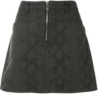 we11done Snake-Print Mini Denim Skirt