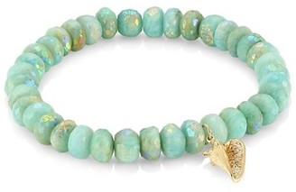 Sydney Evan 14K Yellow Gold, Diamond & Ab Amazonite Conch Shell Beaded Bracelet