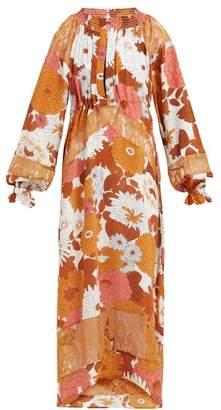 Dodo Bar Or Renee Floral-print Silk Midi Dress - Womens - Brown Multi