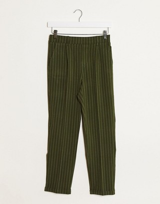 Stradivarius tailored pants in green stripes