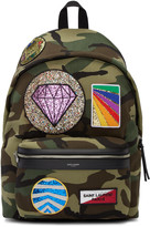 Saint Laurent Green Camouflage Multi-patch City Backpack