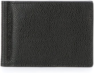 Thom Browne Money Clip Wallet In Black Pebble Grain