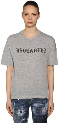 DSQUARED2 OVERSIZED PRINTED COTTON JERSEY T-SHIRT