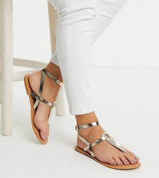 Asos DESIGN Wide Fit Fennel leather toe post sandal in gold