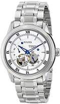 Bulova Men's Designer Automatic Self Winding Watch Stainless Steel Bracelet - White Dial Blue Hands 96A118