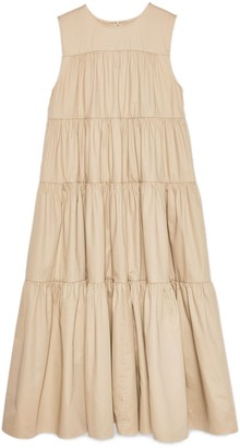 Co Sleeveless Tiered Midi Dress in Taupe