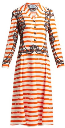 Prada Striped Twill Dress - Womens - Orange Print