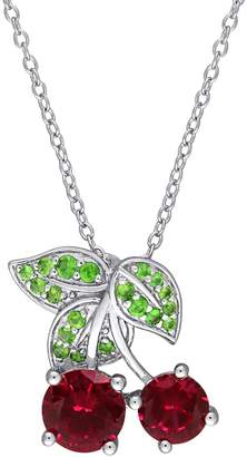 Laura Ashley Cherry Tsavorite Ruby Pendant Necklace