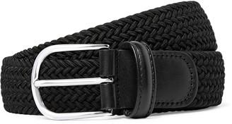 Andersons 3.5cm Black Leather-Trimmed Woven Elastic Belt