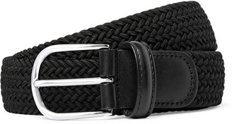 Andersons 3.5cm Green Leather-Trimmed Woven Elastic Belt