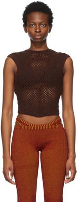 Isa Boulder Brown Crochet Scan Tank Top