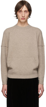 Giorgio Armani Tan Cashmere and Silk Kangaroo Pocket Sweater