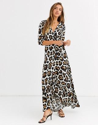Liquorish wrap front maxi dress in leopard print-Brown
