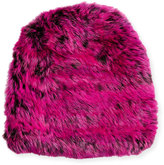 Jocelyn Knit Fur Hat, Black/Rose