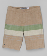 Micros Khaki & Green Stripe Shorts - Boys