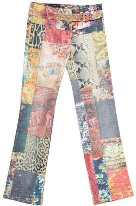 Roberto Cavalli Multicolor Patchwork Print Belted Boot Cut Jeans XS