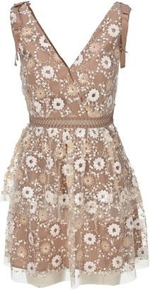 Self-Portrait Flower Sequin Tiered Mini Dress